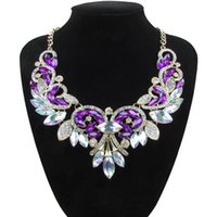 Wholesale Red Crystal Bib Necklace - Luxury Brand AB Shine Crystal Flower Necklace Gold Plated Chain Choker Statement Necklaces Pendants Rhinestone Bib Collar