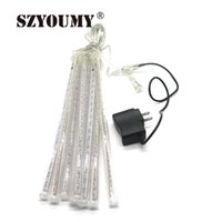 Wholesale Meteor Tubes Leds - SZYOUMY 30cm 144 LEDS Light Meteor Shower Rain 8 Tubes Snowfall Tree Garden Festival Party Decoration Lighting