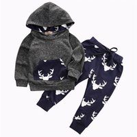 Wholesale american apparel style - 2017 Baby Clothing Sets Boys Gray Toddler Hoodies Tops Pants 2Pcs Set Autumn Cotton Cartoon Infant Apparel Boutique Clothes Outfits