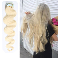 Wholesale Human Hair Multi - Top Grade Tape in Human Hair extensions 16-26 inch Brazilian Virgin Human Hair Extension PU Skin Weft Body Wave 80g 40 Pcs Multi Colors