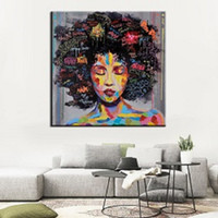 Wholesale Oil Painting African Art - 40*40Cm Hot Sale Living Room Bedroom Wall Decor Oil Painting African Beauty Wall Art Paintings Artistic Human Portrait Colorful Paints
