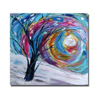 Wholesale Tree Artists Paintings - Artist Painted Abstract Tree Painting for Home Decor Wall Pictures Modern Canvas Art High Quality Oil Painting No Framed