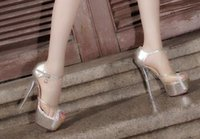 Wholesale Transparent Diamond High Heels - Wholesale New Arrival Knight Star Princess Diamond Noble Sexy Transparent Crystal Banquet Club Peep Toe Sexy Party Heels Sandals EU34-39