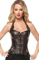 Wholesale Sexy Halter Corsets Sets - High Quality Leather Women Corsets with Buckles Gothic Top Overbust Sexy Lingerie Set Halter Chemisette Hot Shaper Wear Free Shi