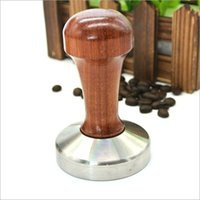 Wholesale Wholesale Handled Baskets - Coffee Espresso Tamper Wooden Handle Coffee Tamper 49MM 50MM 51MM 52MM 53MM 57MM 58MM Coffee Pressure Powder Hammer Pressure Bar Tool