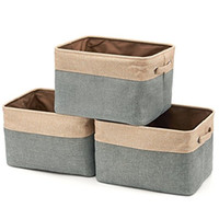 Fabric Food Folding New Collapsible Storage Bin Basket Rectangular Foldable Canvas  Fabric Tweed Storage Cube Bin