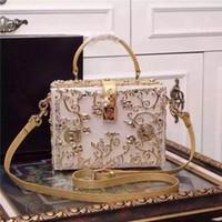 Wholesale Top Grade Handbags - Top Grade Lady Shoulder Bag Luxury Brand Dollce Box White Leather-trimed Clutch Gold Embellished Women Handbag