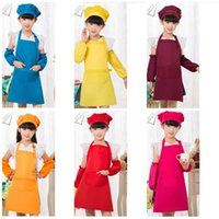 Wholesale High Quality Aprons Wholesale - Child Baby Kindergarten Painting Aprons Antifouling Cuffs Fabric Soft And Comfortable Pinafore Fine Workmanship Apron High Quality Red 5yz R