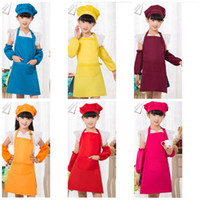 Wholesale red cotton aprons resale online - Child Baby Kindergarten Painting Aprons Antifouling Cuffs Fabric Soft And Comfortable Pinafore Fine Workmanship Apron High Quality Red yz R