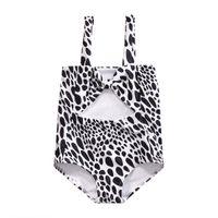 Wholesale Bikini Leopard Costume - 2017 Little Girls Summer One-piece Leopard Bowknot Swimsuit Baies Girl Swimwear Kids Children Bathing Suit Clothes Costume