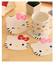 Wholesale Home Decoration Bowl - Wholesale- 1Pcs New Hello kitty Anti Slip Kawaii Cup Mat Dish Bowl Placemat Coaster Base Kitchen Accessories Home Decoration F0515