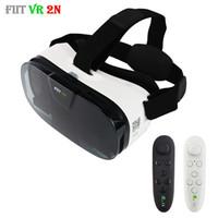 Wholesale Helmet Google - Fiit 2N glasses VR 3D Glasses Virtual Reality Headset vrbox Head Mount Video Google Cardboard Helmet For 4'-6' phones + Remote
