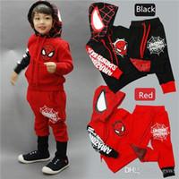 Wholesale Kids Spiderman Sweaters - Kids Spiderman cartoon boy suit sweater + pants suit two sets of leisure sports suit children Spiderman Sets