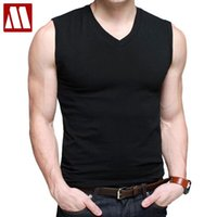 Wholesale Slim V Tank - Wholesale- Mens Cotton T-Shirts V-Neck Short Sleeve Summer Fashion Male Muscle Tank Shirts Top Tees European Style Slim Fit Free Shipping