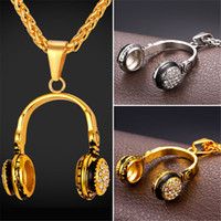 Wholesale Gold Music Pendants - U7 Music Headphones Pendant Necklace Rhinestone Stainless Steel Jewelry Men Women Gold Plated Jewelry Perfect Party Birthday Gift Accessory