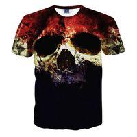 Wholesale T Shirts Halloween Men - Wholesale- Top Quality Halloween Men Brand Clothing Short Sleeve T Shirt Skulls Print 3D T-Shirt Mens Casual Tie Dye Tshirt Homme Camisetas