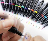 Wholesale nail art 3d gel - 16 Colors 3D Nail Painting Art Pen DIY Drawing A Line Pull Pen Nail Polish Nail Art Tool Drawing UV Gel Polish Manicure
