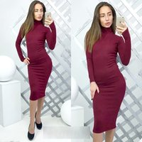 Wholesale Turtle Prom Dress - 2017 European American fashion sexy Turtle Neck Bodycon Dress Night outwear multicolor Knite dresses Formal Prom Party Cooktail Dress