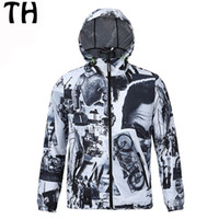 Wholesale Zippers Jackets - Wholesale- Moto Character Autumn Summer Jackets Men Waterproof Thin Zipper Hooded Windbreaker Casual Coats Veste Homme #161452C