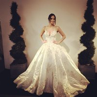 Wholesale baroque gown - Baroque Stunning A Line Wedding Dresses 2017 Sexy Spaghetti Straps V Neck Appliques 3D Flora Floor Length Backless Lace Bride Wedding Gowns