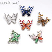 Wholesale Silver Butterfly Jewelry Set - Wholesale 6 Colors Mixed butterfly pattern opal snap button Fit 18mm snap button Bracelets&Necklace For snap Jewelry KZ0346