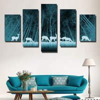 Wholesale Printed Curtain Panels - Wholesale Prices 5 Curtain Wall Art Creative A herd of deer was in an abstract glacier forest On The Canvas Painting Pictures