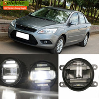 luces de marcha diurna ford focus al por mayor-EeMrke estilo de coche para Ford Focus 2 3 2009-2014 2 en 1 LED NIGHT luz antiniebla DRL con Lens Daytime Running Lights
