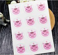 selo de bolo venda por atacado-Etiquetas do natal do dia das bruxas gato cão e urso projeto adesivo selos de alimentos adesivos de presente para o presente de casamento bolo de cozimento selagem adesivo