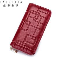 Wholesale Multiple Wallet - INDOLIYA brand 2017 Genuine Leather Women Wallet Standard Wallet Long Clutch Fashion Multiple Cards Holder Leather Women Purse