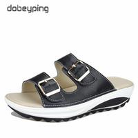 Wholesale Size 42 Wedges - 2017 Casual Women's Sandals Genuine Leather Summer Flats Shoes Women Platform Wedges Female Slides Beach Flip Flops Size 35-42