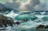 pintura a óleo da onda do oceano venda por atacado-Grande ondas do oceano rock antes da tempestade de Alta Qualidade Pintado À Mão HD Impressão seascape Art Pintura A Óleo sobre Tela de Parede Decoração Da Parede Múltiplos tamanhos