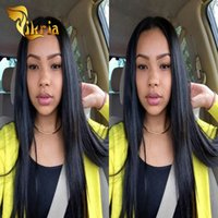 Wholesale Medium Brown Cheap Wigs - Unprocessed Brazilian Virgin Straight Hair Wigs Lace Front Glueless Malaysian Indian Peruvian Human Hair Full Lace Wigs Cheap Price Wigs
