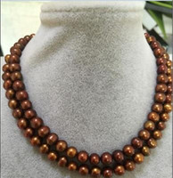 Wholesale Earrings South Sea Pearl Necklaces - 9-10MM SOUTH SEA CHOCOLATE PEARL NECKLACE 32 INCH 14K yellow GOLD CLASP