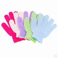 Wholesale Sanitary Gloves - Exfoliating Gloves Skin Body Bath Shower Loofah Sponge Mittens Scrub Massage Spa Bath Finger Gloves CCA5490 300pcs