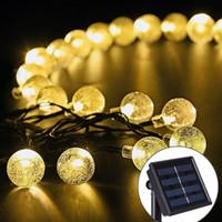 ingrosso cristalli violacei-30 LED Crystal Ball Solar Powered String Luci per interni o esterni (rosa / rosso / viola / blu / bianco puro / bianco caldo / multicolore)