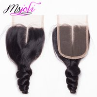 Wholesale Ms Queen - Mongolian 7A Virgin Human Queen Hair Three Parts 4*4 Lace Top Closure Loose Wave Natural Black 6-22 Inches From Ms Joli