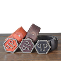 Wholesale Wholesale Leather Belts For Men - hexagon pattern Buckle washing process Retro style whole piece leather Belt for men classical Style Fashion Vintage Male free shipping