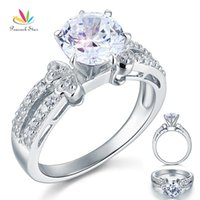 Wholesale Diamond Solid Wedding Ring - Peacock Star 2 Created Diamond Solid 925 Sterling Silver Wedding Promise Engagement Ring Jewelry CFR8078