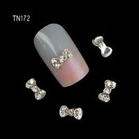 Wholesale Bow Metal Jewelry - Wholesale- 10pcs 3D shine bow Charm Decorations Glitter Alloy Metal Jewelry Rhinestones for Nail Art Studs Tools TN172