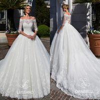 online Ball Gowns - Modest Half Sleeves Lace Wedding Dresses 2018 Arabic Sheer Off Shoulders Appliqued Sweep Train Bridal Gowns Formal Vestidos de novia