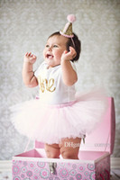 Wholesale Birthday Clothing - ins new baby girl Number one letter print Romper+Tutu Skirt+headband 3pcs Birthday Set outfits kids cotton clothes suit for babies KST09