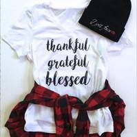 Wholesale Short Sleeve Blouse Women - Thankful Giateful T-Shirt Women Christmas Shirts Xmas Fashion Tops Casual Blouse Short Sleeve Tees Print Shirt Blusas Women's Clothing B2987