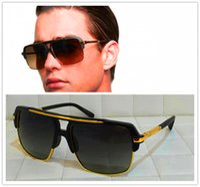 Wholesale 24k Gold Designer - men brand designer sunglasses mach four titanium sunglasses 24K gold plated vintage retro style semi frame UV400 lens original case
