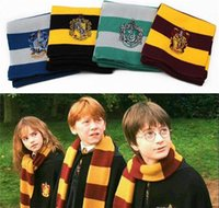 Wholesale Scarfs Knited - Harry Potter Scarves School Unisex Knited Scarves Cosplay Costume Warm Stripe Scarves Christmas gift scarf