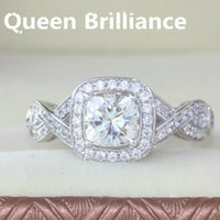Queen Brilliance Heavy Versión 1.1 Carat ct Cojín de Recorte EngagementWedding Moissanite anillo de diamante genuino 14K 585 oro blanco 17903
