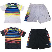 tischtennis kleidung großhandel-Li Ning Badminton Jersey Tischtennis Shirt Wettbewerb Kleidung, Tischtennis Badminton Jersey, 100% Polyester Tennishemden Shorts M-4XL