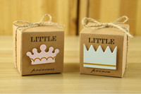 Wholesale Crown Baby Shower Favors - Vintage Kraft Paper Gift Box Little Prince Princess Baby Shower Birthday Wedding Party Candy Box Favors handmade Soap box with Crown