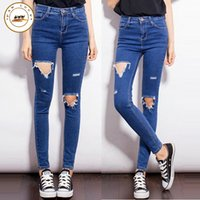 Wholesale Hole Tear Sexy - Wholesale- Women's fashion brand crop of high-waisted skinny jeans slim pencil jeans torn ripped holes pants female sexy girls pants
