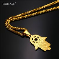Wholesale David Star Pendant Necklaces - Collare Fatima Hamsa Hand Pendant Gold Color Stainless Steel Jewelry Magen David Star Accessories Ethnic Turkey Necklace P291