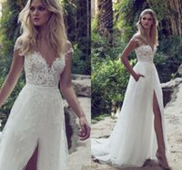 Wholesale plus side bridal party dresses online - 2017 Lace Beach Boho Wedding Dresses Off the Shoulder Side Split Wedding Party Bridal Gowns Sweep Train Plus Size Custom Made Wedding gowns